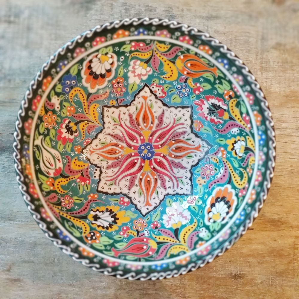 Tigela Turca Verde em Cerâmica Relevo Gaziantepe 25,5cm