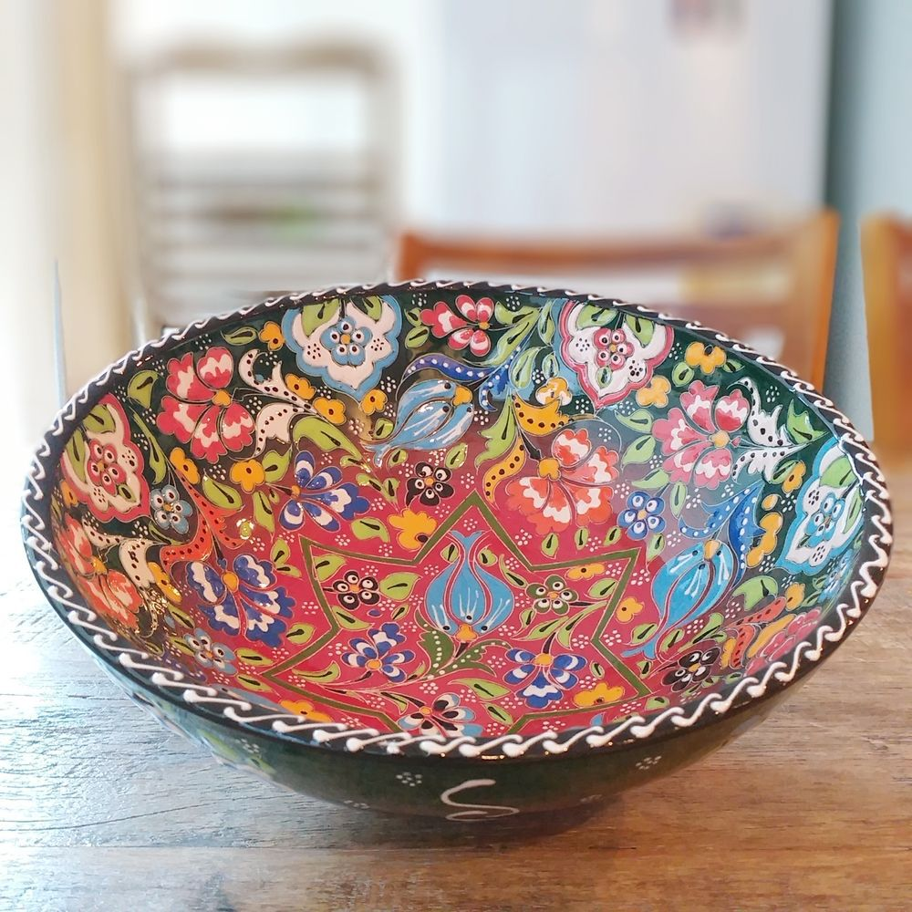 Tigela Turca Verde em Cerâmica Relevo Gelibolu 25,5cm   - Brandal table & textile