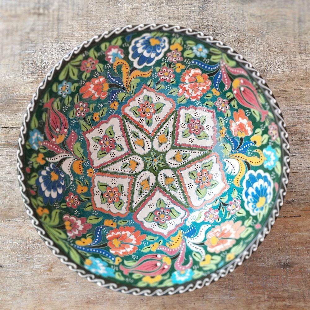 Tigela Turca Verde em Cerâmica Relevo Gumushane 25,5cm