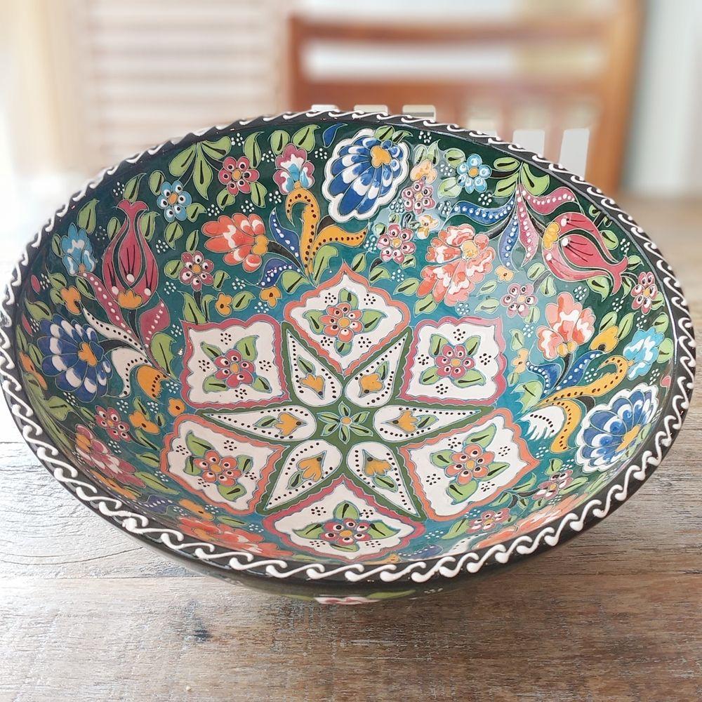 Tigela Turca Verde em Cerâmica Relevo Gumushane 25,5cm   - Brandal table & textile