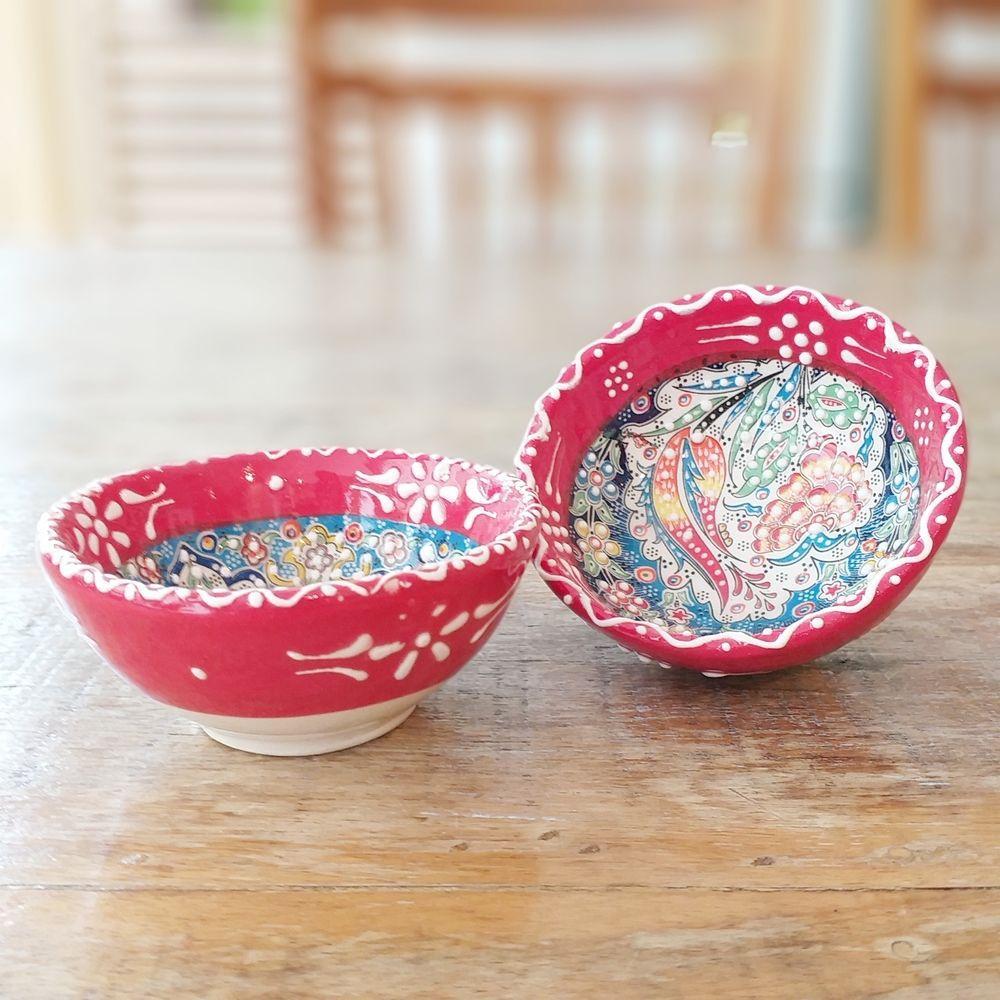 Tigela Turca Vermelha em Cerâmica Relevo Duzce o Par 8cm