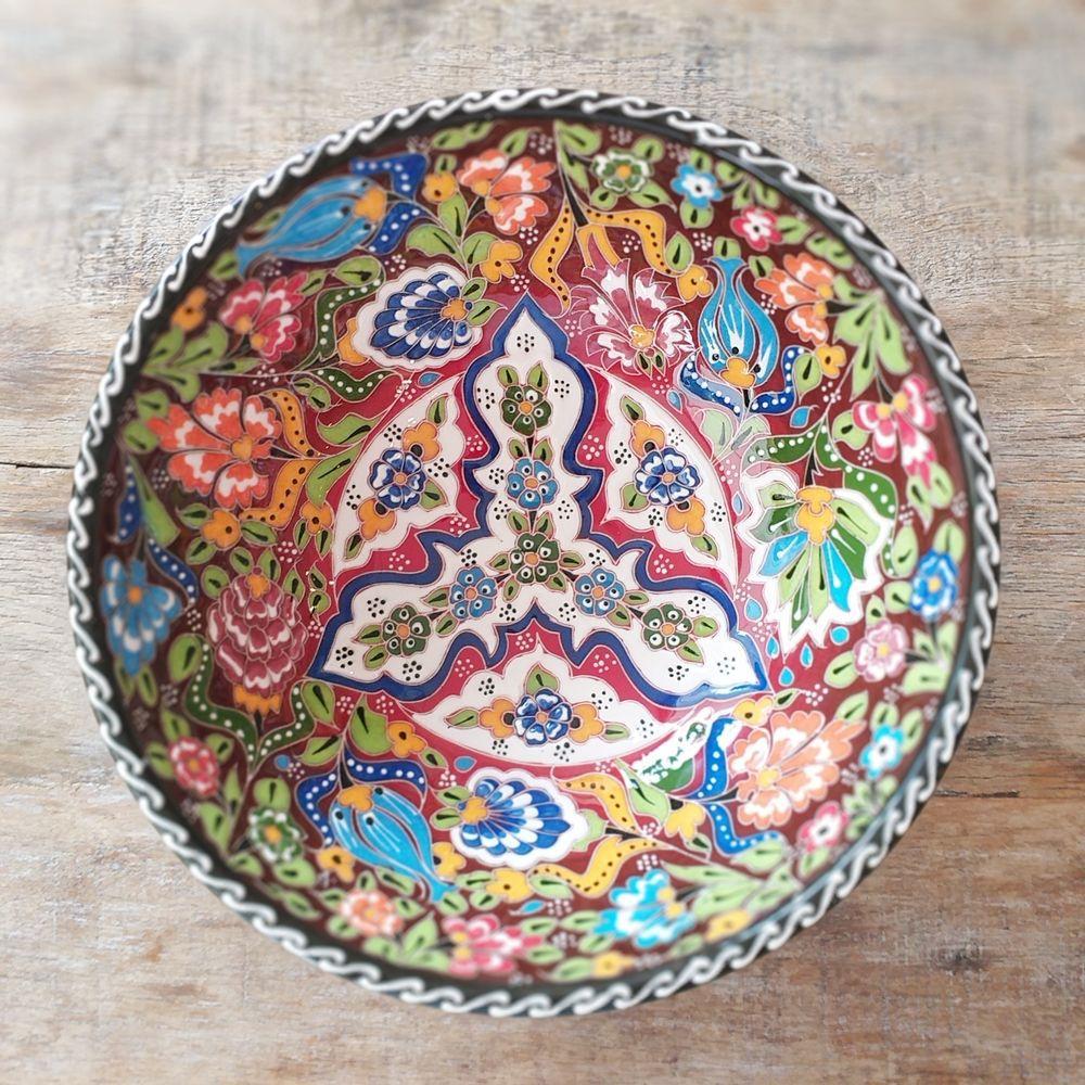 Tigela Turca Vermelho em Cerâmica Relevo Malátia 26,5cm