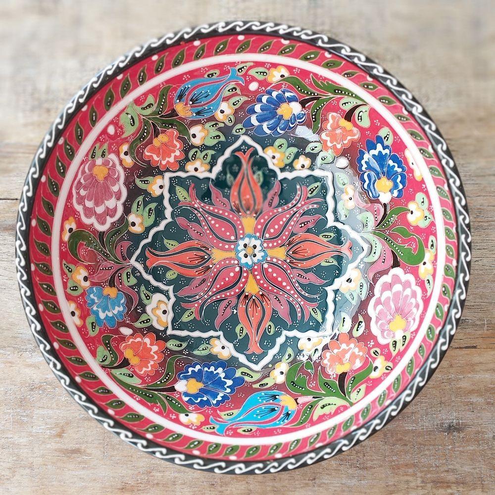 Tigela Turca Vermelho em Cerâmica Relevo Mersin 26cm