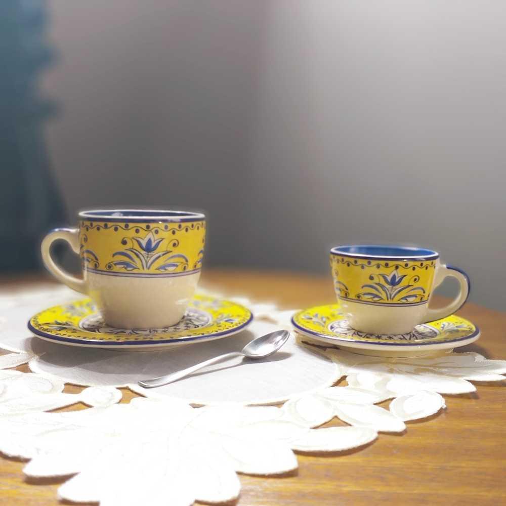 Xícara de Café Luiz Salvador Fiore  Amarelo e Azul Cerâmica