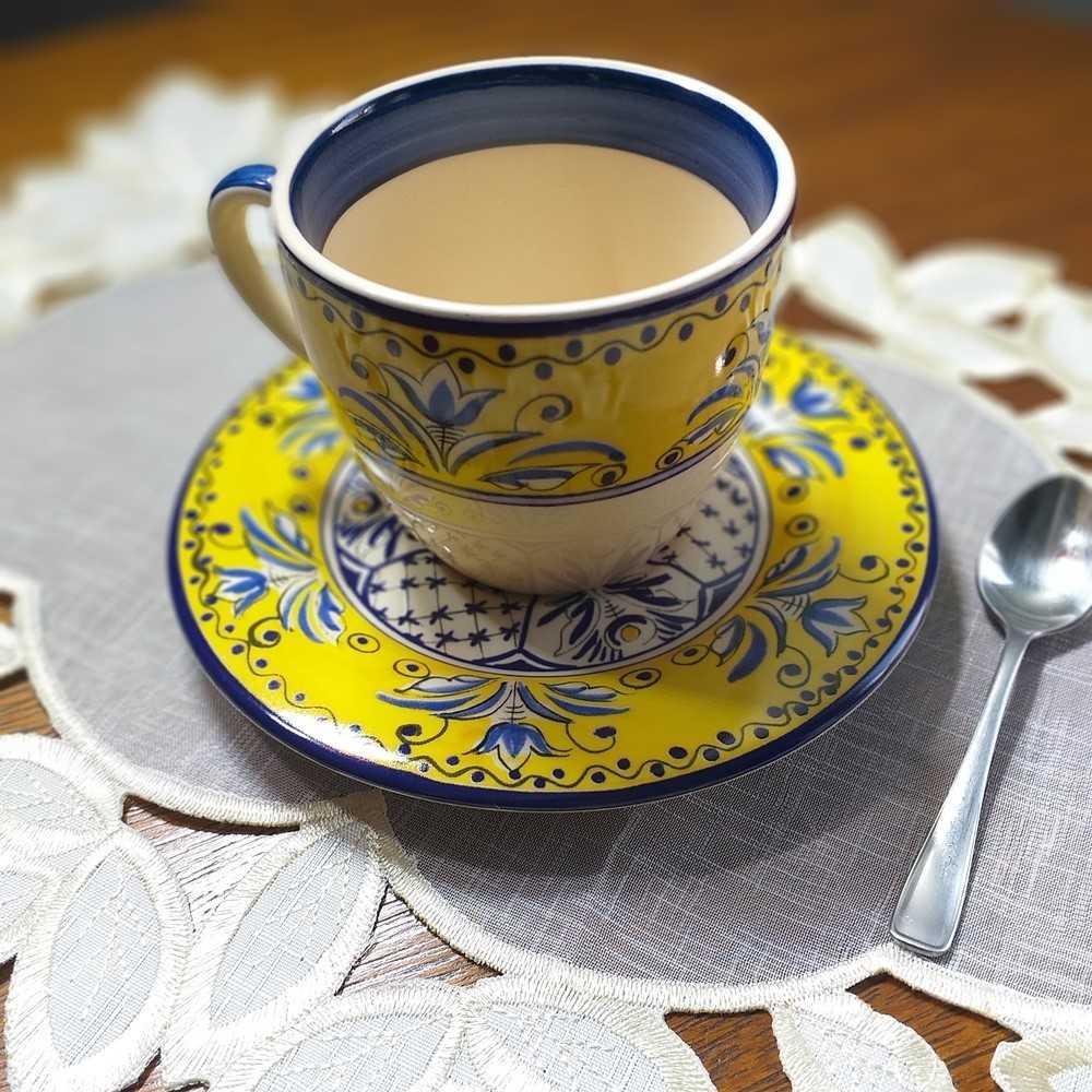 Xícara de Chá Luiz Salvador Fiore Amarelo e Azul Cerâmica  - Brandal table & textile