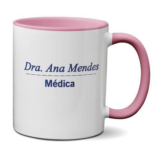 Caneca Rosa profissão Jaleco Medicina com Nome