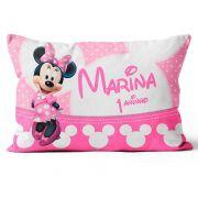 Almofada Personalizada Minnie Mouse Rosa Frente e Verso