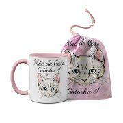 Caneca Mãe De Gato Gatinha É + Saquinho