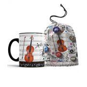 Caneca Musica Violino + Saquinho