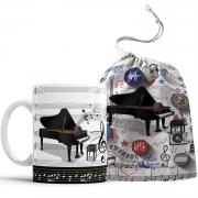Caneca Piano Pianista Música  com Saquinho