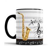 Caneca Saxofone Dourado Personalizada Musica