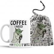 Caneca Star Wars Coffee Yoda + Saquinho