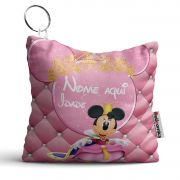 Chaveiro Almofada Personalizada Tema Minnie Realeza Rosa