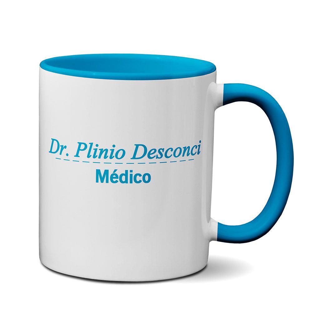 Caneca Azul Profissão Jaleco Medicina com Nome