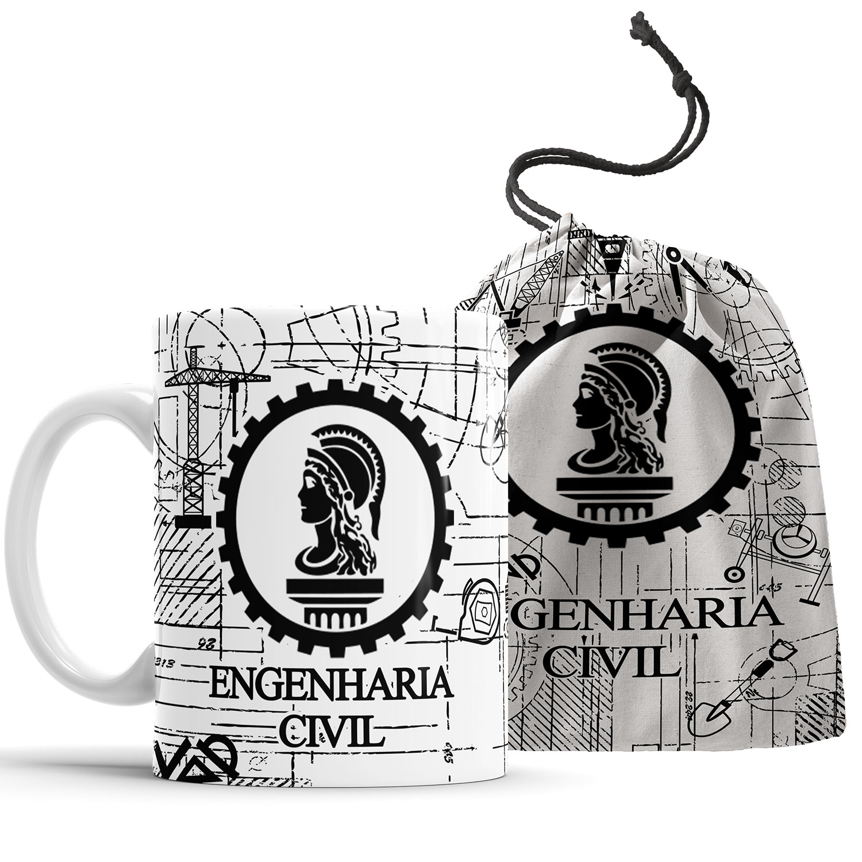 Caneca Engenharia Civil com Saquinho  - ELICOMICS PRODUTOS PERSONALIZADOS