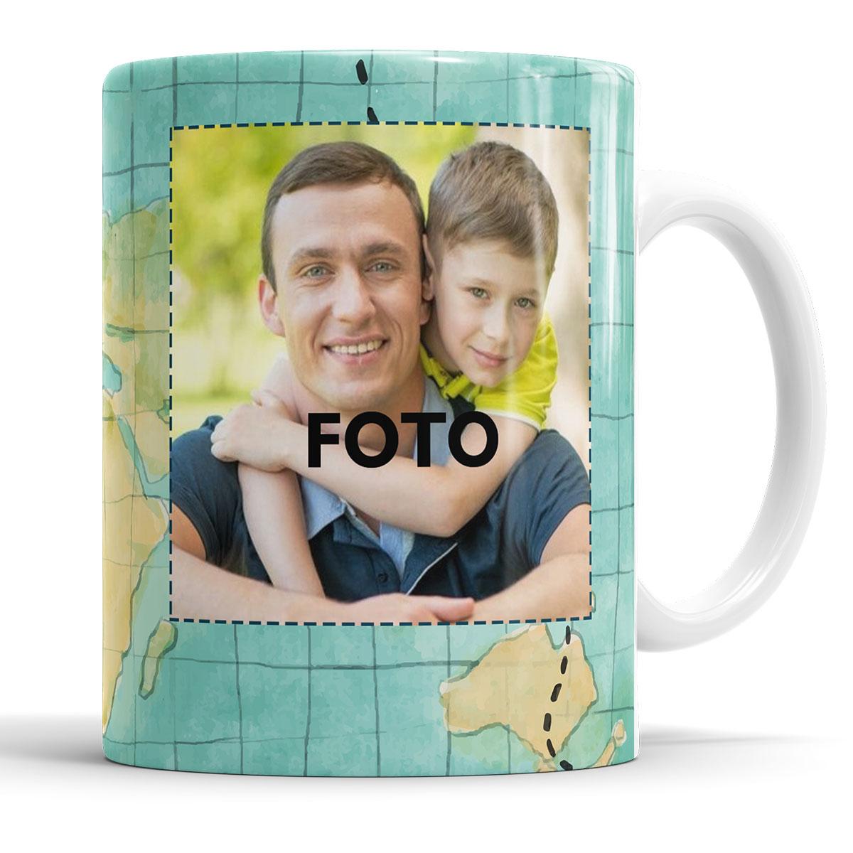 Caneca Feliz dia dos Pais com Foto + Saquinho  - ELICOMICS PRODUTOS PERSONALIZADOS