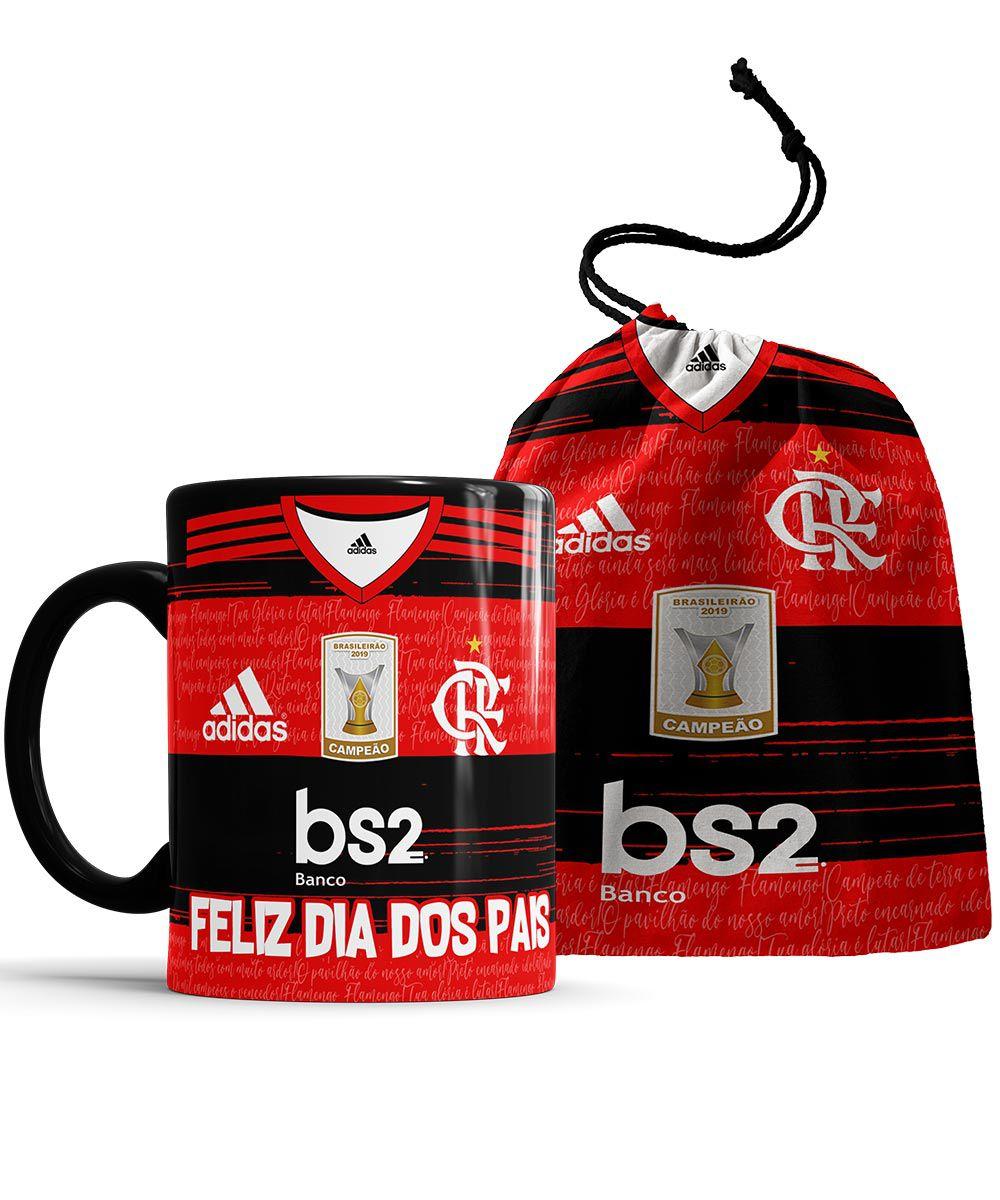 Caneca Feliz dia dos Pais Flamengo com foto + Saquinho