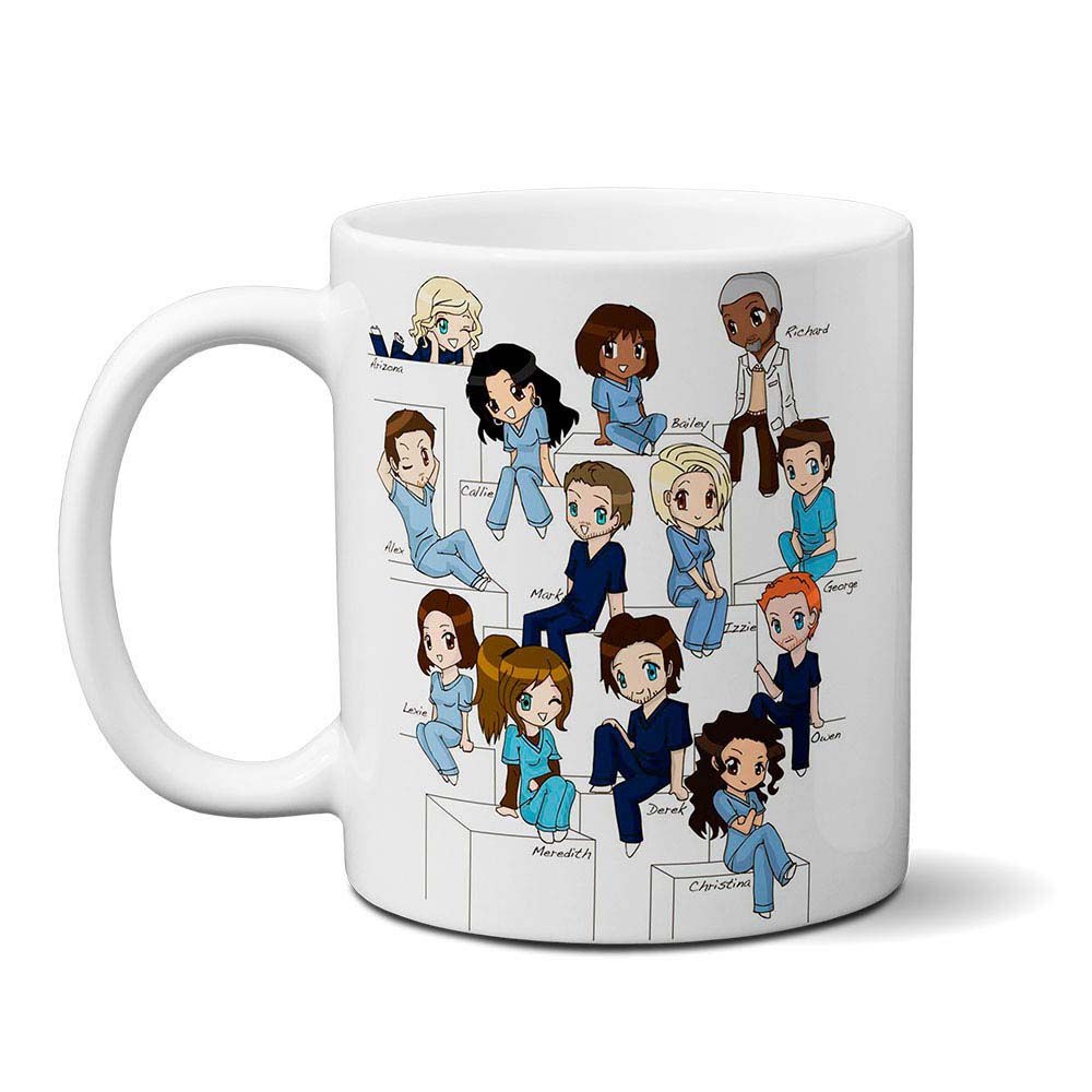 Caneca Grey's Anatomy Personagens - cartoon
