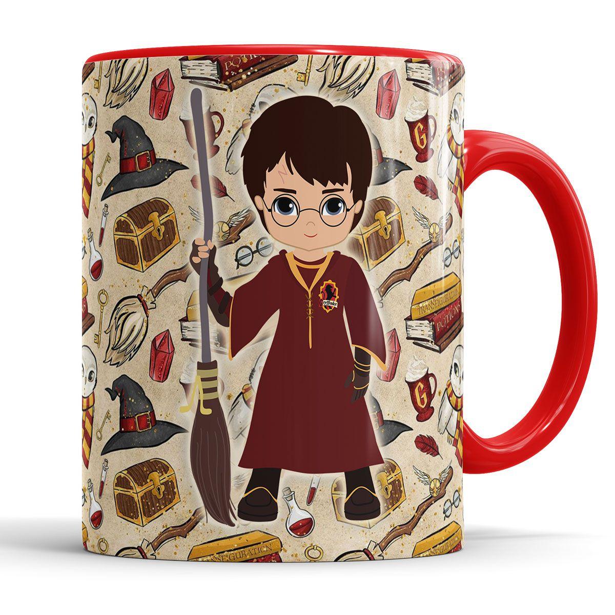 Caneca Grifinória Harry Potter + Saquinho   - ELICOMICS PRODUTOS PERSONALIZADOS