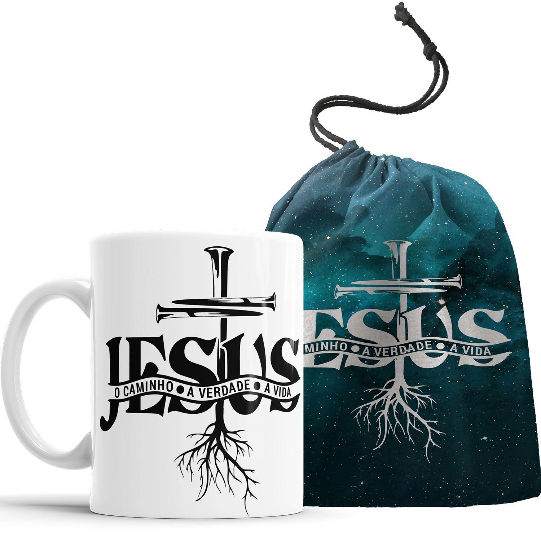 Caneca Jesus É o Caminho A verdade e a Vida com Saquinho