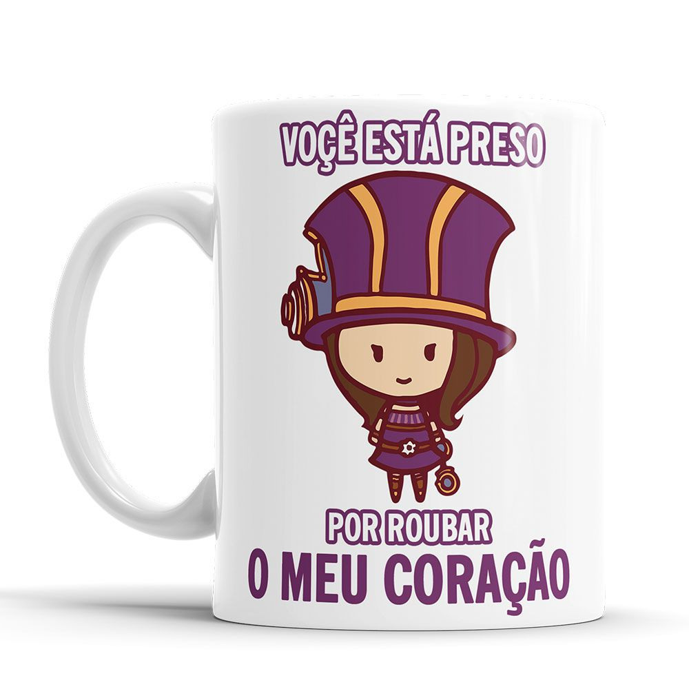 Caneca League of Legends Caitlyn Cantadas Divertidas Branca