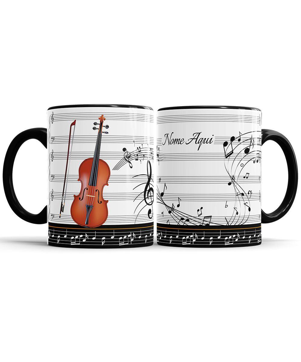 Caneca Musica Violino Personalizada com Nome