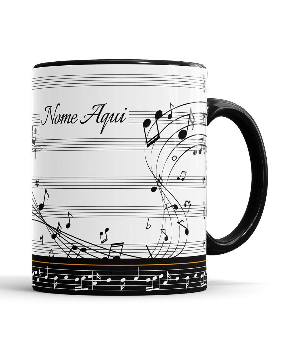 Caneca Musica Violino Personalizada com Nome + Saquinho