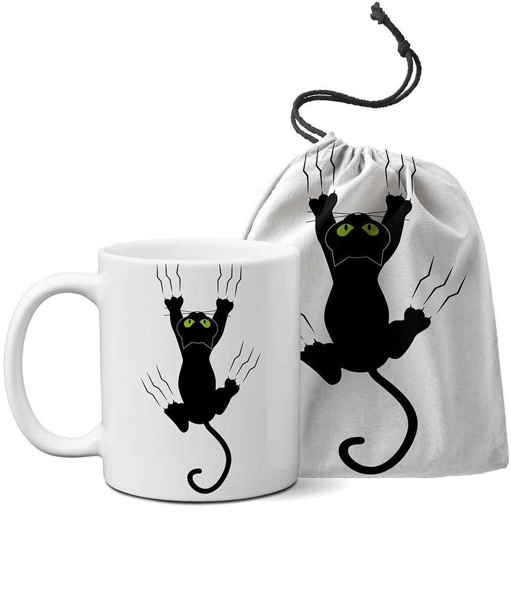 Caneca personalizada Gato Pendurado + saquinho
