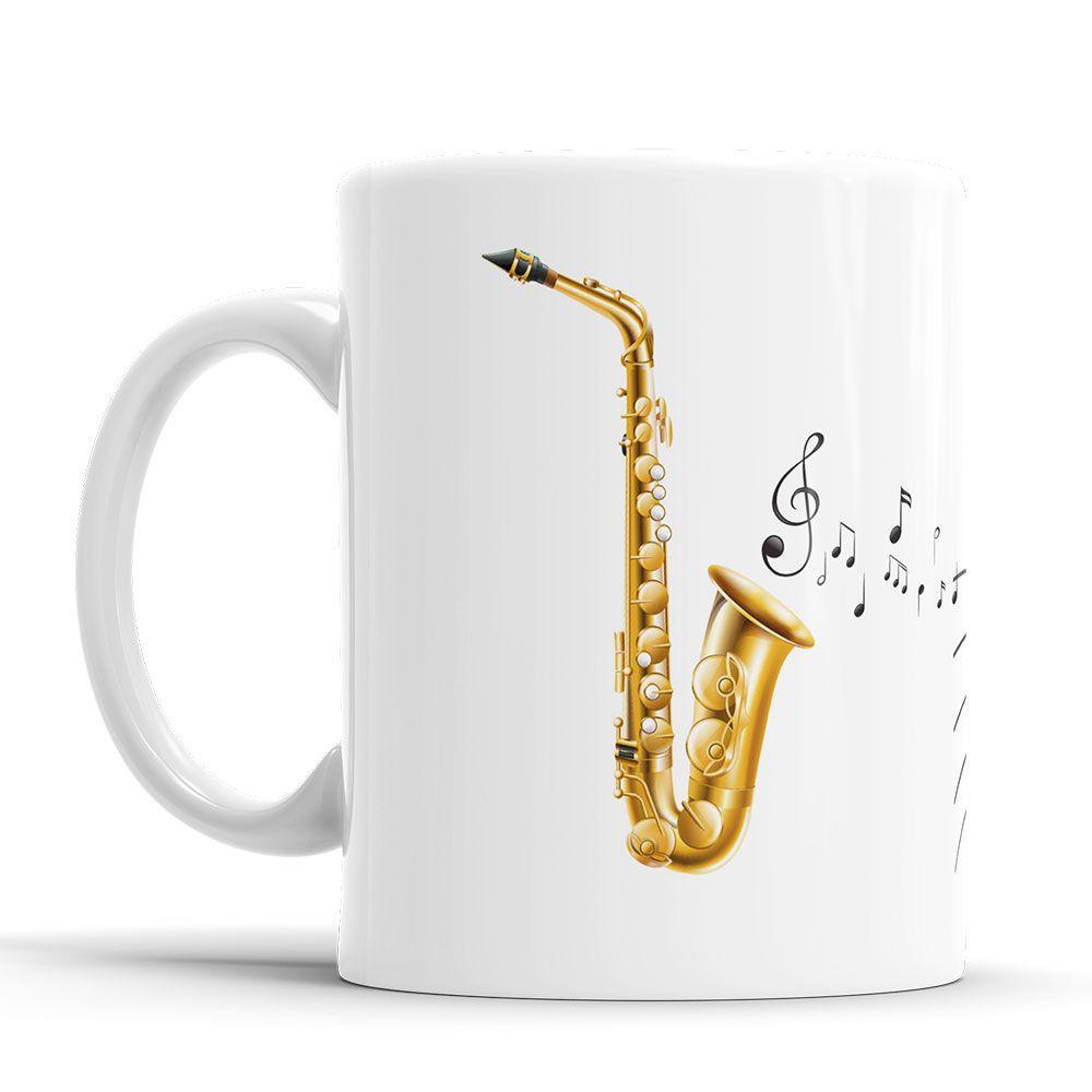 Caneca Personalizada Musico com Nome - Saxofone