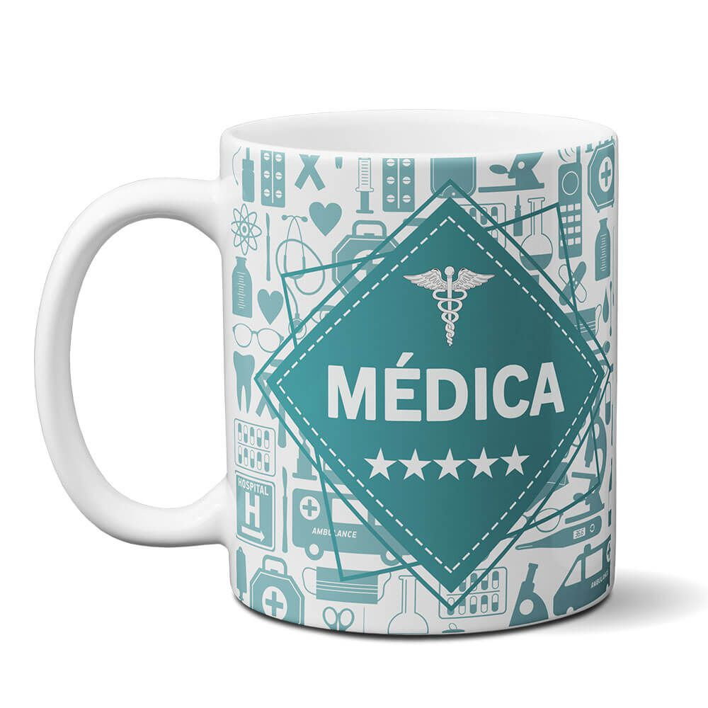 67d253819 Caneca profissão medica Medicina com Nome ...
