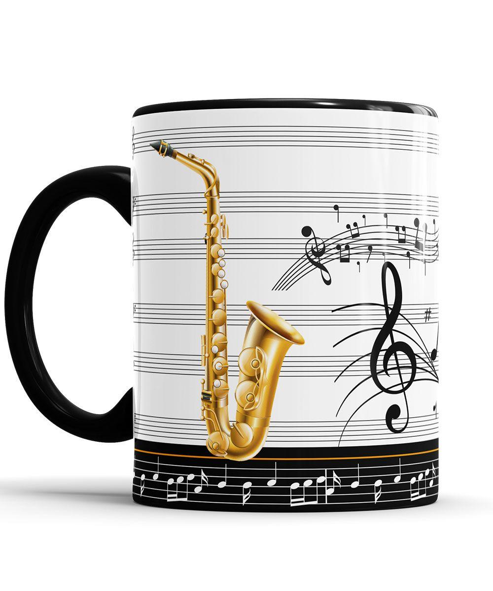 Caneca Saxofone Dourado Personalizada Musico com Nome + Saco de Tecido