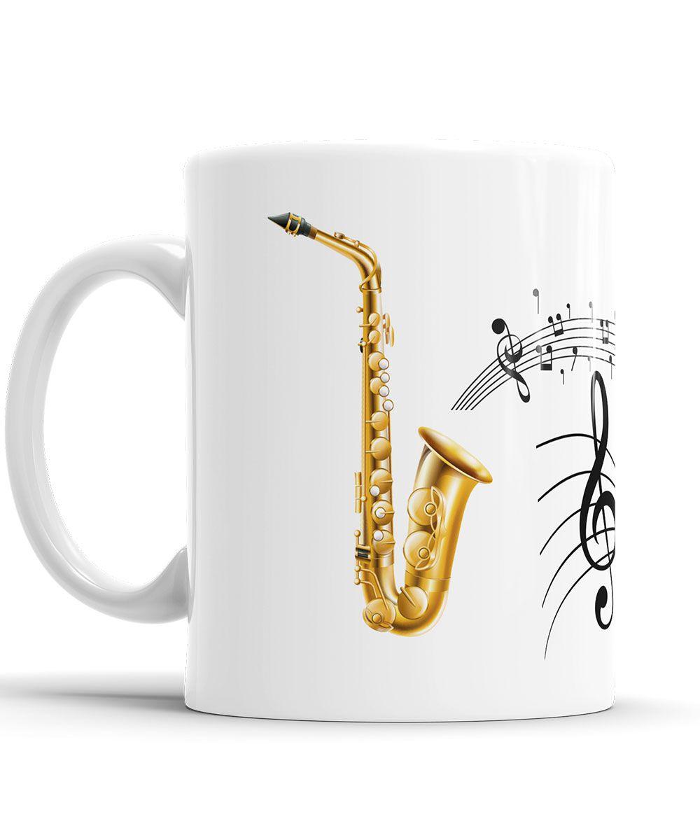 Caneca Saxofone Dourado Personalizada Musico + Saco de Tecido