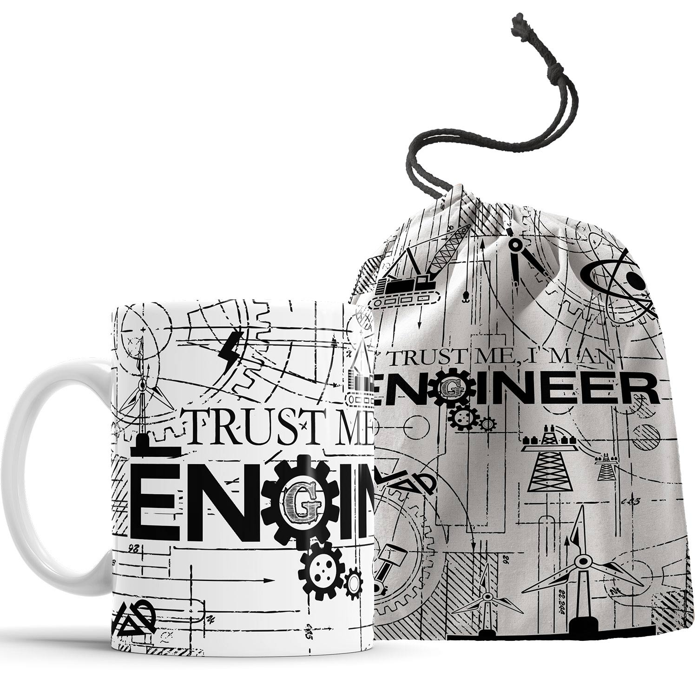 Caneca Trust Me I'm An Engineer com saquinho
