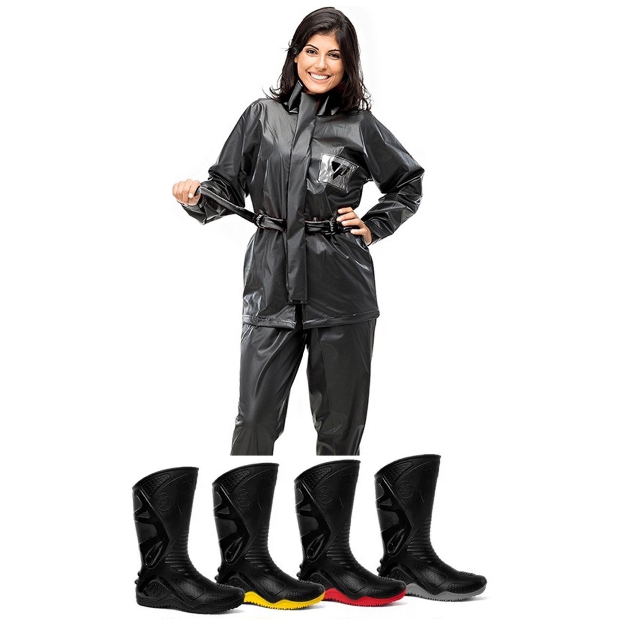 9d781bae1 Kit Capa de Chuva Feminina Pantaneiro + Bota Motosafe PVC Motociclista