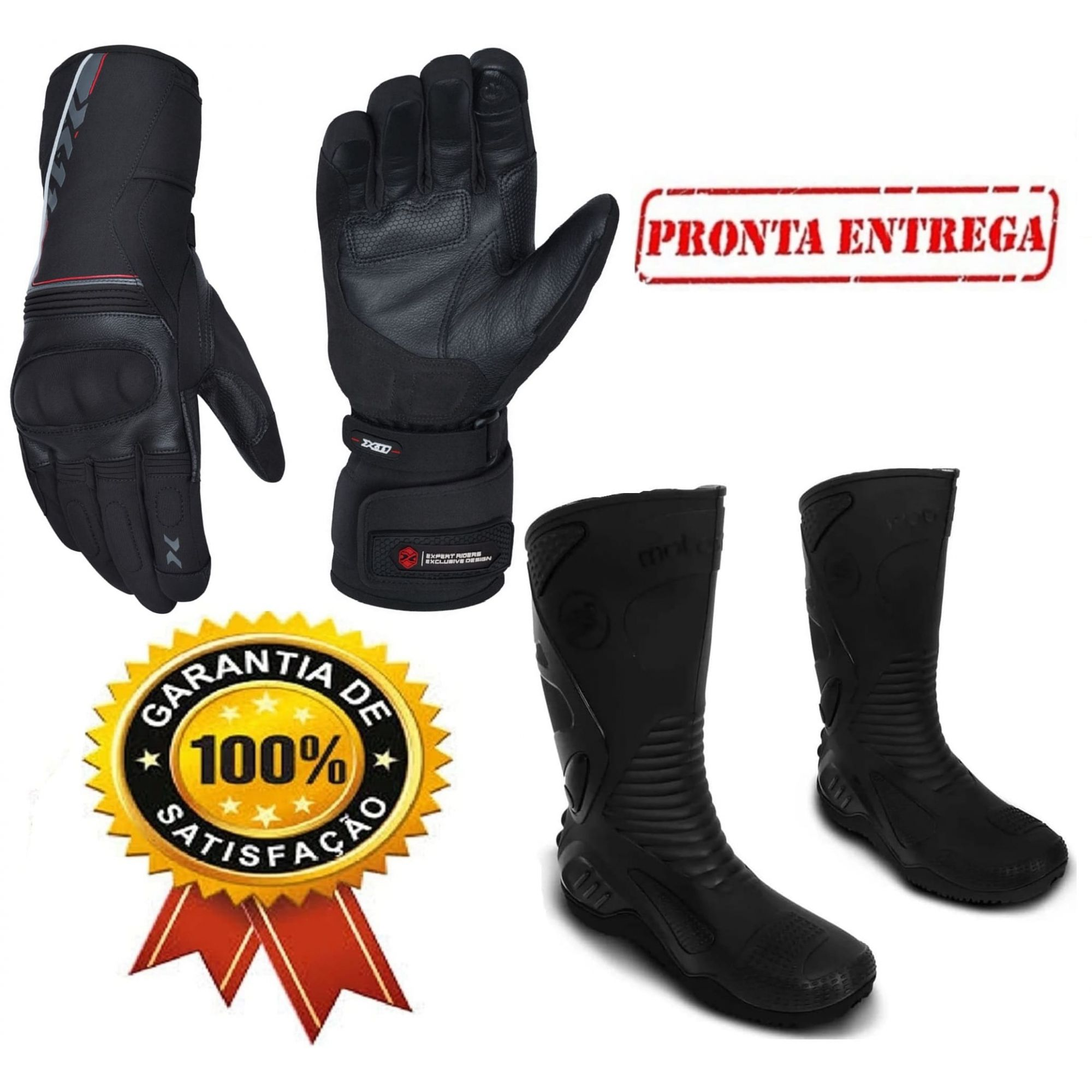 2fea853b4dc Kit Luva X11 Dry Supertech Impermeável + Bota Pvc Motosafe Cano Longo