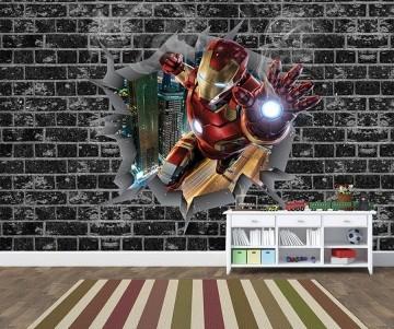 Papel de Parede 3D Vingadores Tijolos 0002