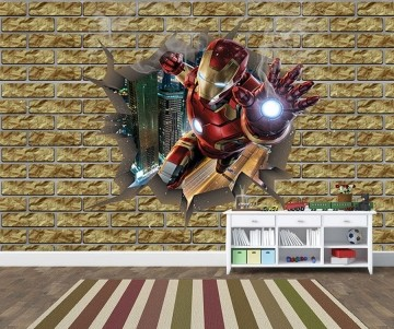 Papel de Parede 3D Vingadores Tijolos 0001