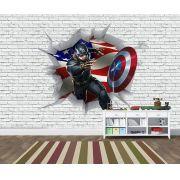 Papel de Parede 3D Vingadores Tijolos 0013