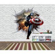 Papel de Parede 3D Vingadores Tijolos 0019