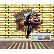 Papel de Parede 3D Vingadores Tijolos 0020