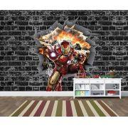 Papel de Parede 3D Vingadores Tijolos 0032
