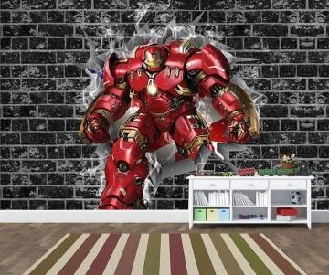 Papel de Parede 3D Vingadores Tijolos 0034