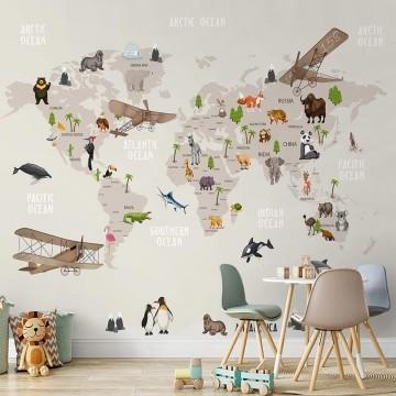 Papel de Parede Adesivo Vinilico 3D Mapa Mundi 0012