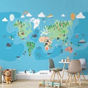 Papel de Parede Infantil Adesivo 3D Mapa Mundi 0017