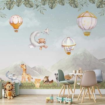 Papel de Parede para Quarto Infantil Adesivo 3D Balões 0009