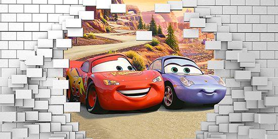 Papel de Parede 3D Carros  0023 - Papel de Parede para Quarto   - Paredes Decoradas