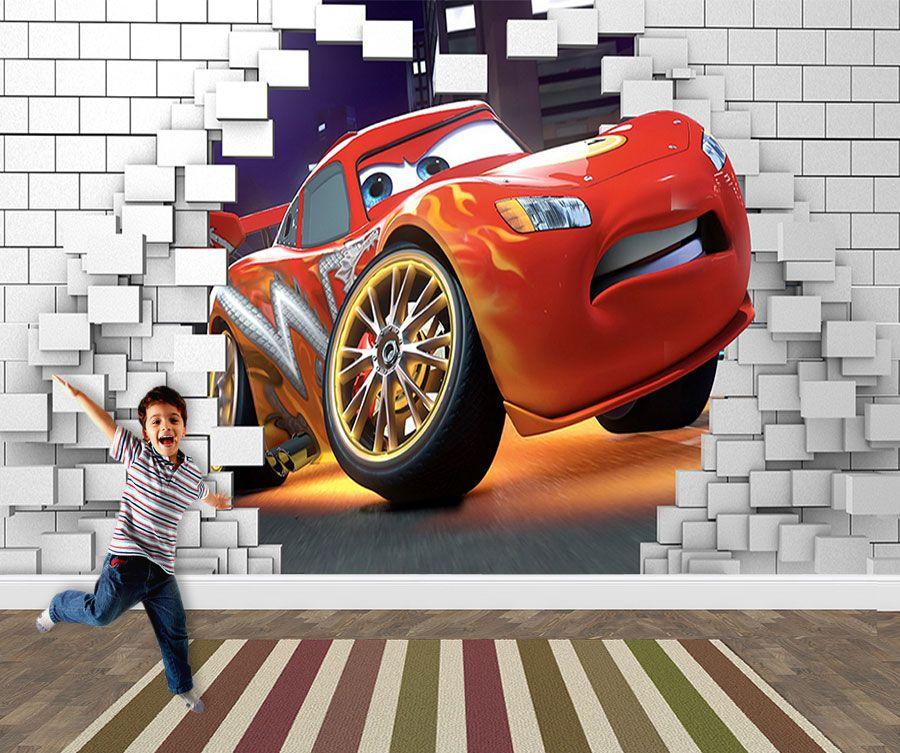 Papel de Parede 3D Carros  0025 - Papel de Parede para Quarto   - Paredes Decoradas
