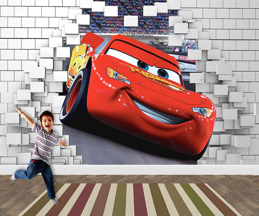 Papel de Parede 3D Carros  0030 - Papel de Parede para Quarto   - Paredes Decoradas