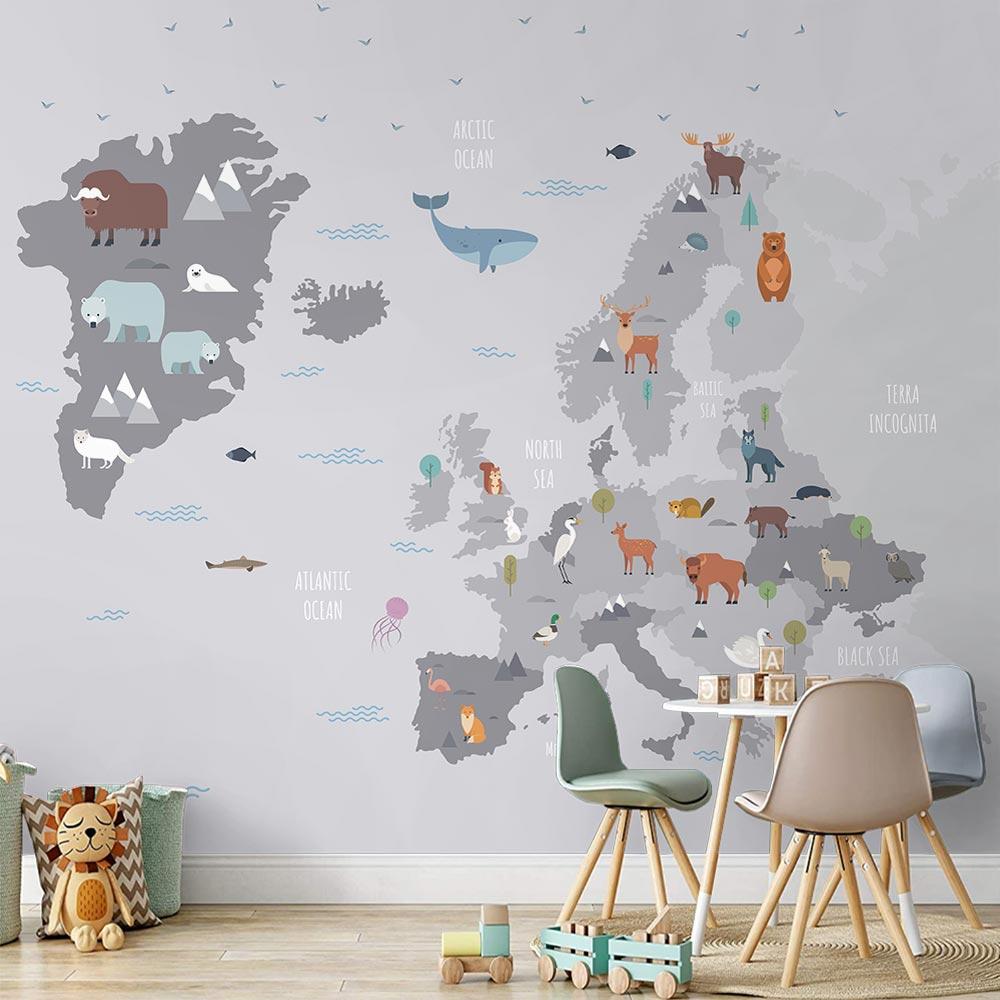Papel de Parede 3D Adesivo de Parede Mapa Mundi 0007