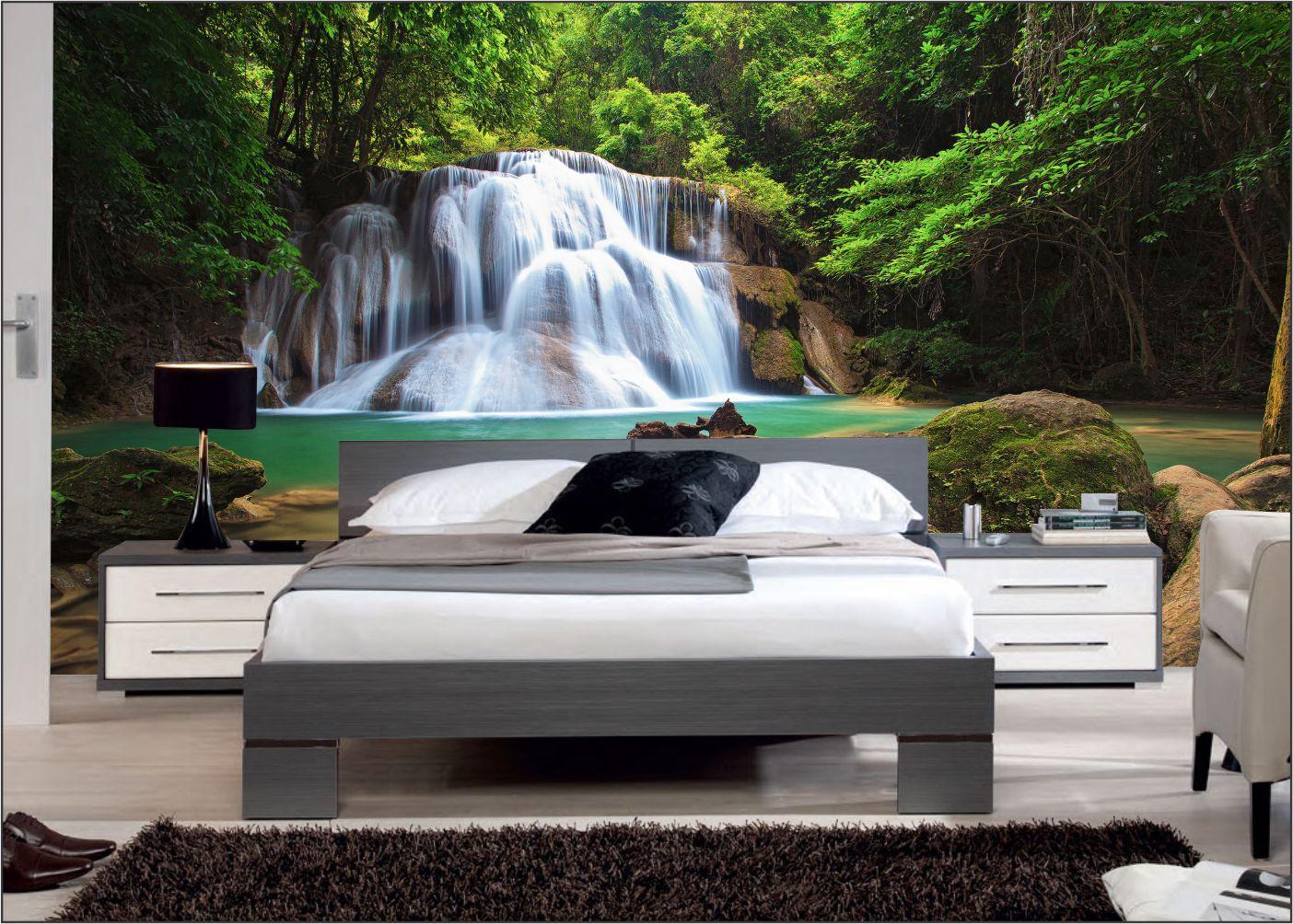 Papel De Parede 3D   Cachoeiras 0021 - papel de parede paisagem  - Paredes Decoradas